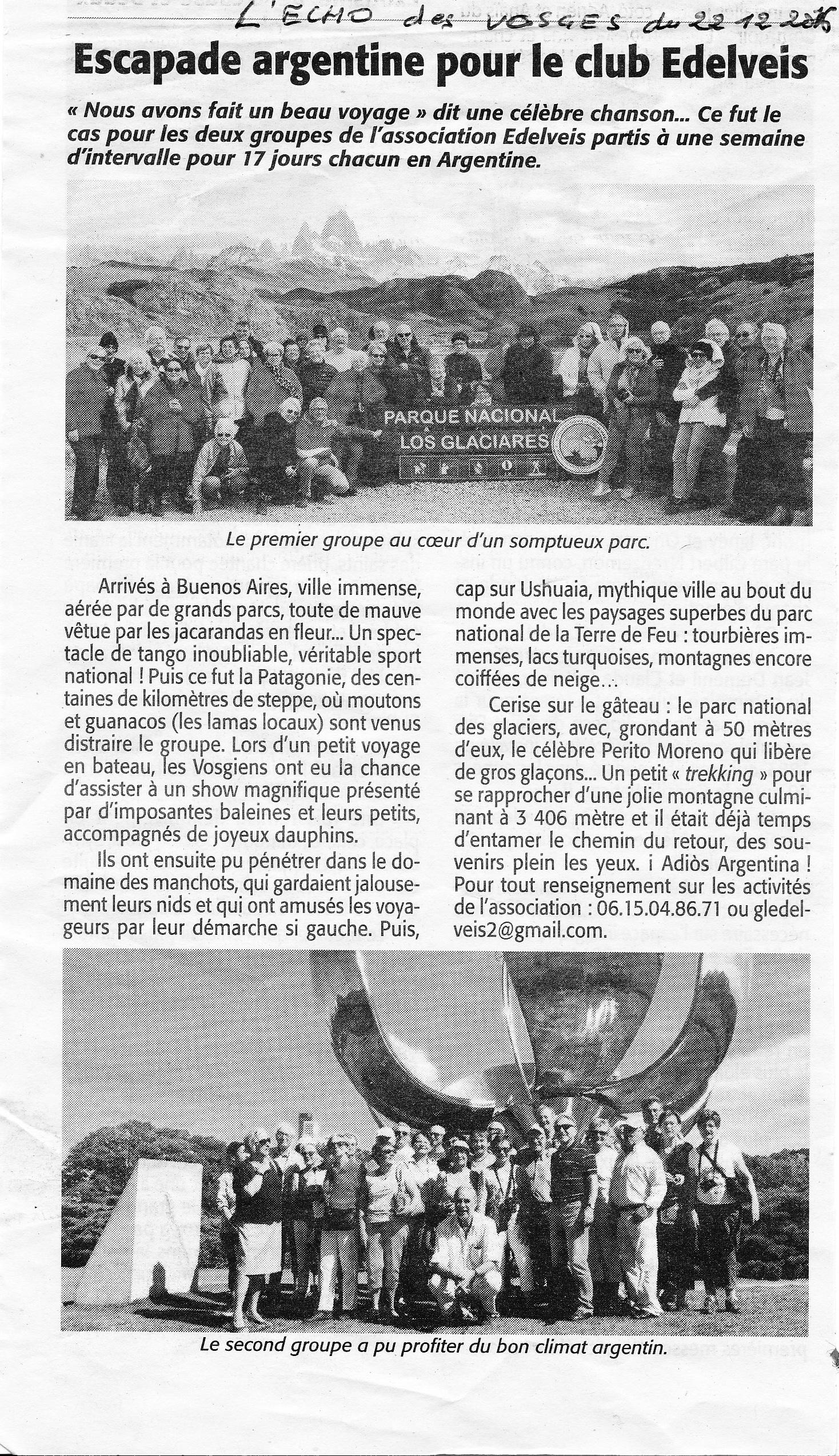 Article de presse Echo des Vosges